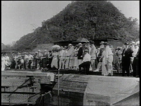 1910s b/w curious onlookers staring into the panama canal / panama - panama canal stock videos & royalty-free footage