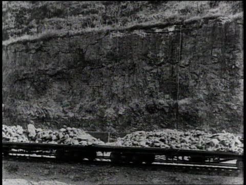 1910s B/W Trains moving near the Panama Canal / Panama