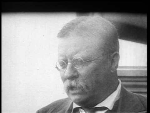b/w 1910s close up face of theodore roosevelt talking / sagamore hill ny / newsreel - only mature men stock videos & royalty-free footage