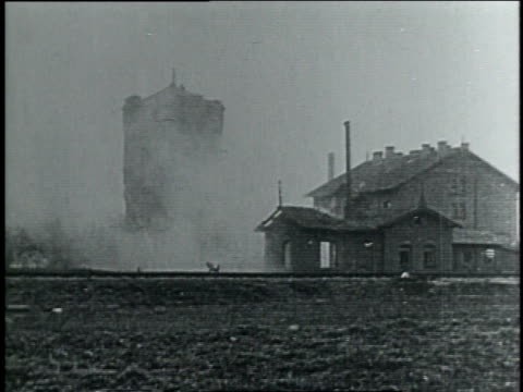 1910s explosion and smoke surrounding collapsing building / germany - germany stock videos & royalty-free footage