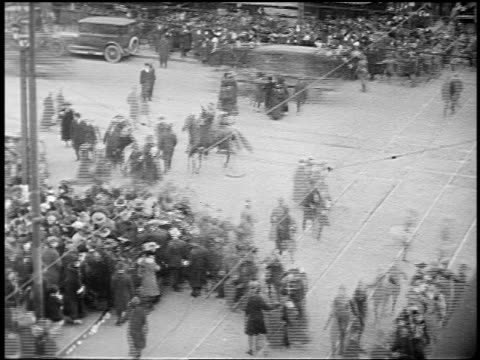 b/w 1910s high angle pedestrians traffic with trolleys cars at busy new york city intersection - 1910 stock videos & royalty-free footage