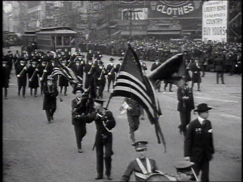 1910s montage people marching in a parade for departing wwi soldiers / united states - world war i stock videos & royalty-free footage