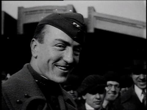 1910s montage pilot eddie rickenbacker smiling and shaking hands / united states - eddie rickenbacker bildbanksvideor och videomaterial från bakom kulisserna