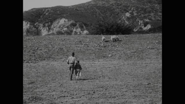 vidéos et rushes de 1910s peasant man (house peters) and son herd sheep - mener un troupeau