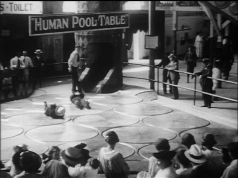 Bw S People Spinning On Backs On Human Pool Table Coney Island - Human pool table