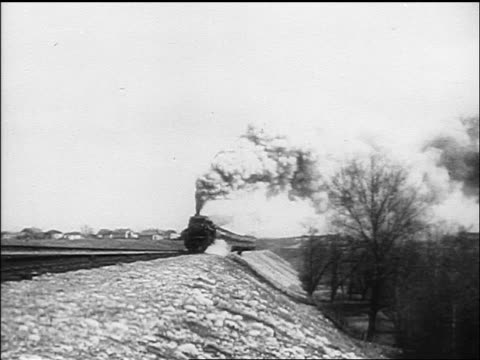 B/W 1910s steam train coming towards camera / Russia / documentary