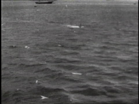 1910s LS Submarine moving through water periscope causing ripple on surface / U