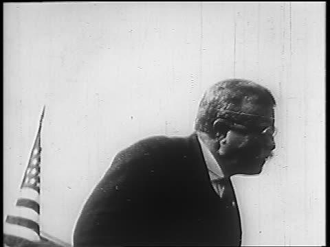 B/W 1910s Theodore Roosevelt giving speech outdoors