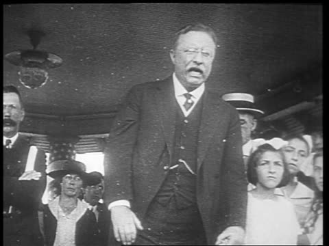 b/w 1910s theodore roosevelt making impassioned speech / newsreel - theodore roosevelt us president stock videos & royalty-free footage
