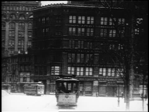 b/w 1910s trolley point of view up broadway near union square / nyc / documentary - 1910 stock-videos und b-roll-filmmaterial