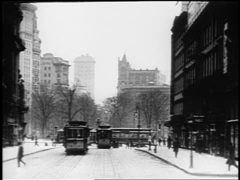 b/w 1910s trolley point of view up broadway towards union square / nyc / documentary - union square new york city stock videos and b-roll footage