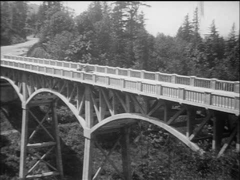 B/W 1910s wide shot car stopping on bridge over forest / Columbia River Highway, Oregon / documentary