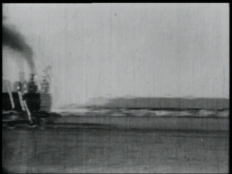 B/W 1920s 2 locomotives in head-on collision