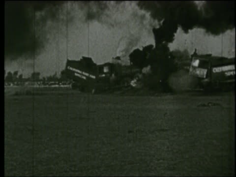 b/w 1920s 2 trains in head-on collision - train crash stock videos and b-roll footage