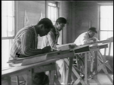 b/w 1920s 3 young native american men sitting at drafting tables in school / educational - architect stock videos & royalty-free footage