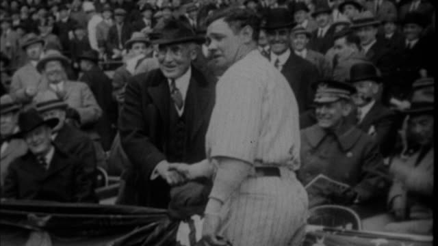 1920s b/w ms babe ruth meeting warren g harding at stadium / new york city new york usa - president stock videos & royalty-free footage