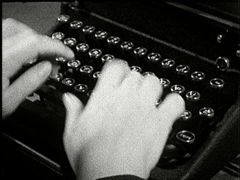 1920s b/w composite, cu, ha, person rapidly typing on typewriter - typewriter stock videos & royalty-free footage