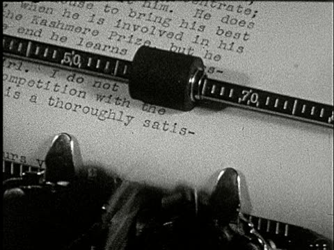 1920s B/W CU, COMPOSITE, Person typing letter on typewriter