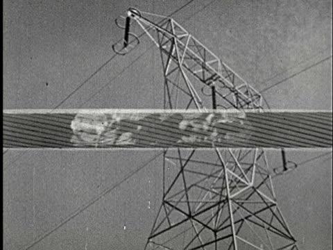 1920s b/w la, multiple exposure, electricity pylon with horses running on superimposed wire in foreground - galoppera bildbanksvideor och videomaterial från bakom kulisserna