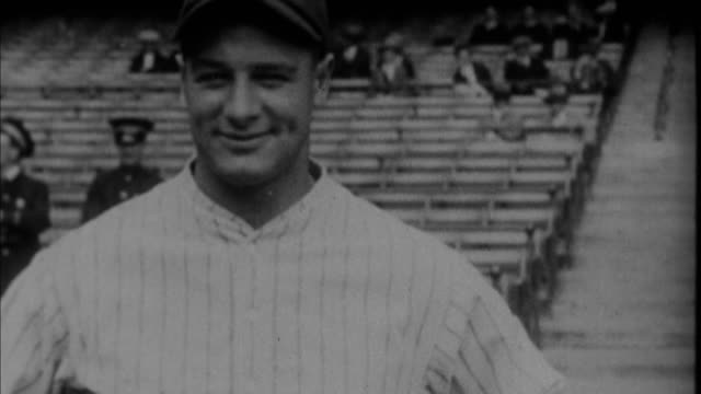 1920s b/w cu portrait of lou gehrig on stadium / new york city new york usa - lou gehrig stock videos & royalty-free footage