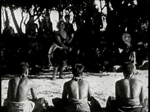 1920s b/w samoan wedding, bride in grass skirt dances at wedding ceremony in samoa, south seas - samoa stock videos & royalty-free footage