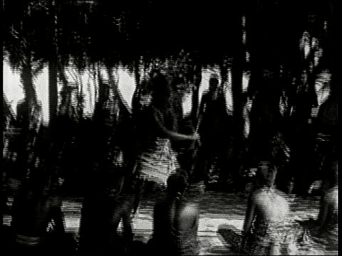 1920s b/w ms samoan wedding men in traditional south seas costumes do headknife dance at wedding ceremony in samoa south seas - samoa stock videos & royalty-free footage