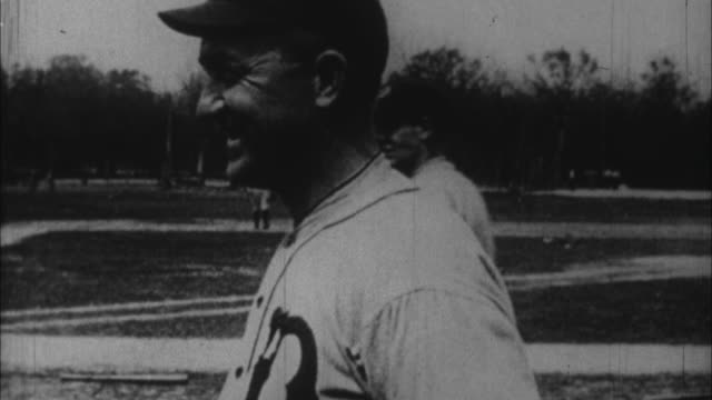 1920s b/w cu ty cobb in baseball field / united states - ty cobb baseball player stock videos and b-roll footage