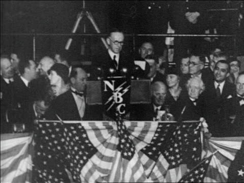 b/w 1920s calvin coolidge speaking at political convention / nbc logo on podium / newsreel - coolidge calvin stock videos & royalty-free footage