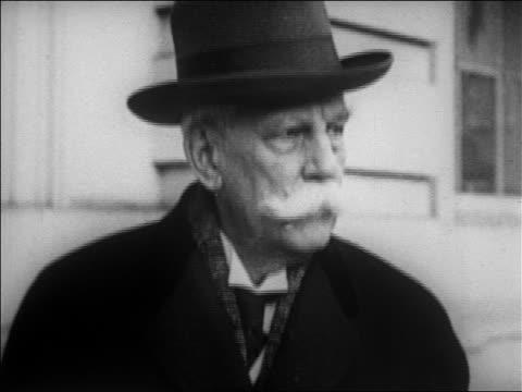 vídeos de stock, filmes e b-roll de b/w 1920s close up aged justice oliver wendell holmes / newsreel - só um homem idoso