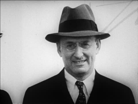 b/w 1920s close up henry morganthau jr in hat eyeglasses smiling / newsreel - only mature men stock videos & royalty-free footage