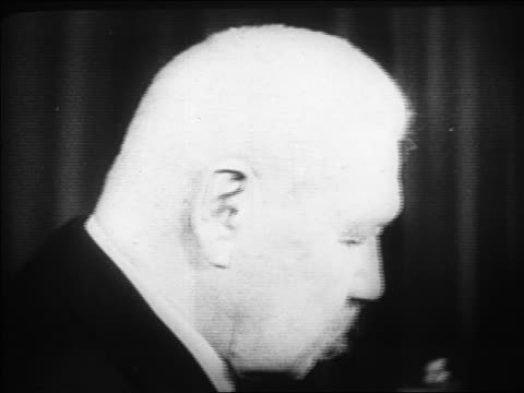 b/w 1920s close up profile paul von hindenburg / documentary - weimar video stock e b–roll