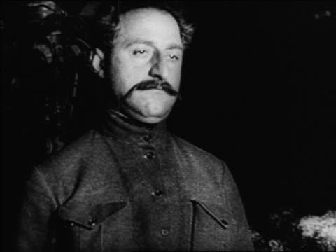 vidéos et rushes de b/w 1920s close up russian man with mustache / russia / documentary - un seul homme d'âge moyen