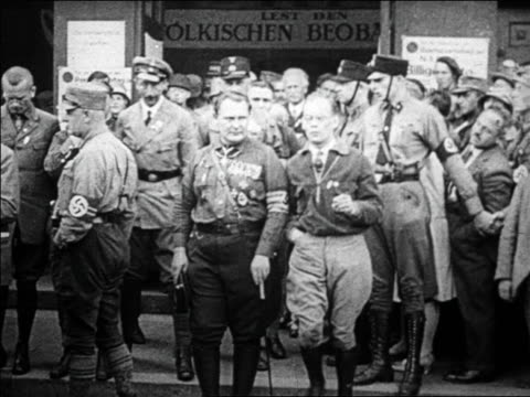 b/w 1920s hermann goering others exiting building with crowd in front / germany / documentary - hermann goering stock videos & royalty-free footage