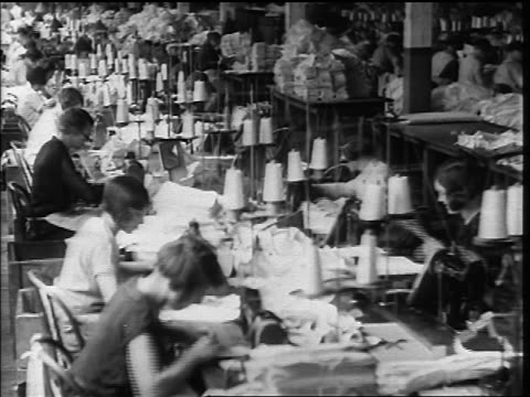 b/w 1920s high angle lines of women working at sewing machines on tables in factory - cucire video stock e b–roll