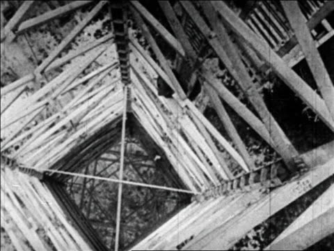 b/w 1920s high angle overhead close up radio antenna tower - tower stock videos & royalty-free footage