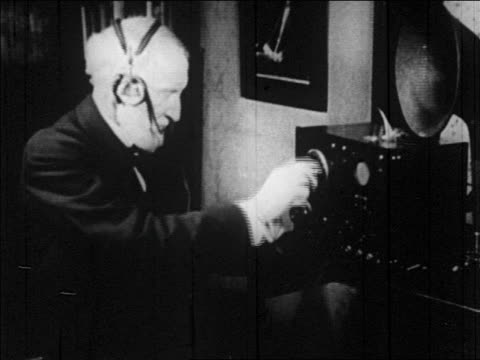 b/w 1920s joseph uncle joe cannon in headphones listens to radio - b roll stock videos & royalty-free footage