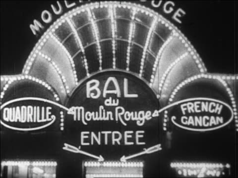 vídeos de stock, filmes e b-roll de b/w 1920s lights + sign on entrance to bal du moulin rouge at night / paris, france / newsreel - 1920