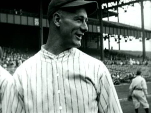b/w 1920s lou gehrig smiling talking on baseball field / documentary - one mid adult man only stock videos & royalty-free footage