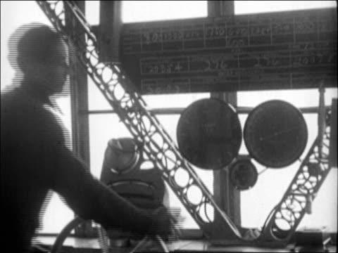 B/W 1920s man steering airship / documentary