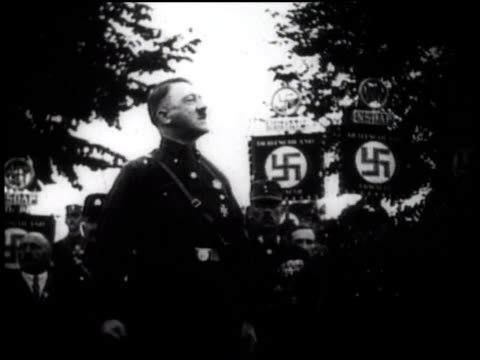 vídeos de stock, filmes e b-roll de 1920s montage adolf hitler giving a speech / germany - adolf hitler