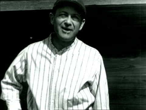 b/w 1920s ny yankee manager miller huggins in uniform talking waving / documentary - one mid adult man only stock videos & royalty-free footage