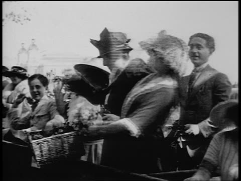 Bw 1920s People Throwing Flowers On City Street Paris