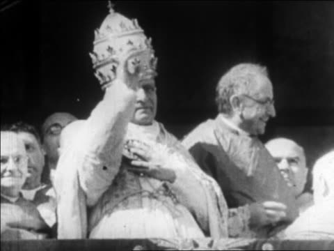 B/W 1920s Pope Pius XI making blessing motions / Vatican / Rome / newsreel