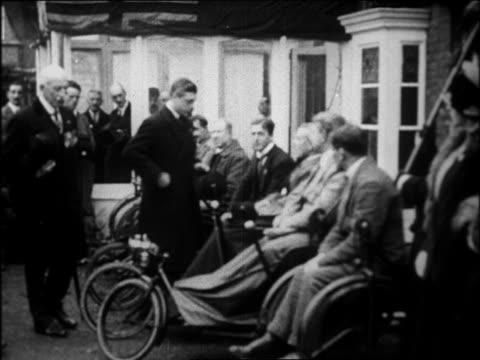 b/w 1920s prince edward viii greeting wounded british war veterans - war veteran stock videos & royalty-free footage