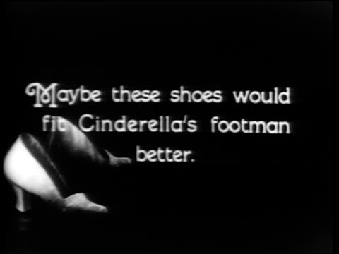 "stockvideo's en b-roll-footage met b/w 1920s slate ""maybe these shoes would fit cinderella's footman better"" / educational / industrial - prelinger archief"