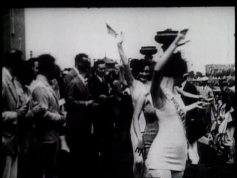 1920s ms women in beauty contest parading / united states - contestant stock videos and b-roll footage