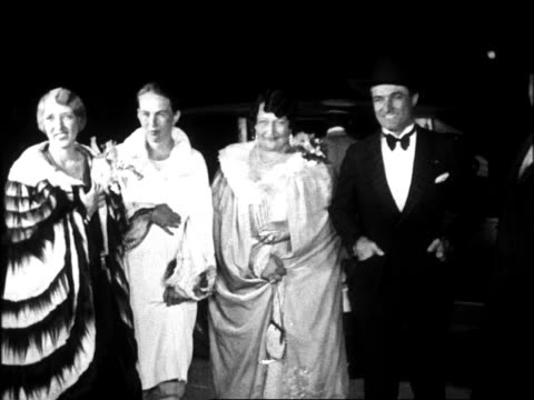 B/W 1920s women in gowns Tom Mix at Graumann's Chinese Theatre for movie premiere at night