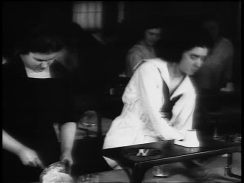 b/w 1920s women working at lab table in chemistry class in vocational school / newsreel - laboratory stock videos & royalty-free footage