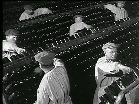 vidéos et rushes de b/w 1920s/30s high angle men turning bottles + replacing to racks in rows in champagne cave / reims, france - champagne