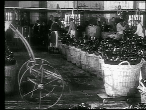 b/w 1920s/30s man wheeling large basket of bottles in champagne cave / workers in background / reims, france - basket stock videos and b-roll footage